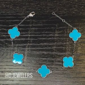 Jewelry - Turquoise Solid 925 Silver 5 Leaf Clover Bracelet